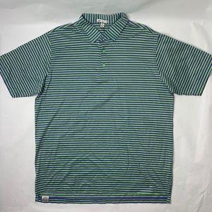 Peter Millar Mens XL Polo Shirt Green Blue Striped
